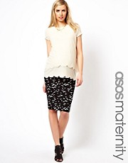 ASOS Maternity Midi Pencil Skirt in Seagull Print