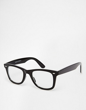 Asos ASOS Wayfarer Glasses With Clear Lens (Black)