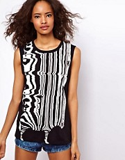 ASOS Longline Tank with Stretched Zebra
