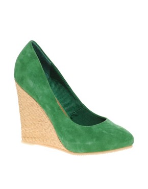 Image 1 ofASOS PAVE THE WAY Suede &amp; Raffia Wedge Shoe