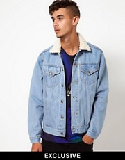 Reclaimed Vintage Denim Jacket with Borg Collar