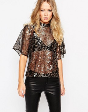 Y.A.S Emira Lace Top with Kimono Sleeves
