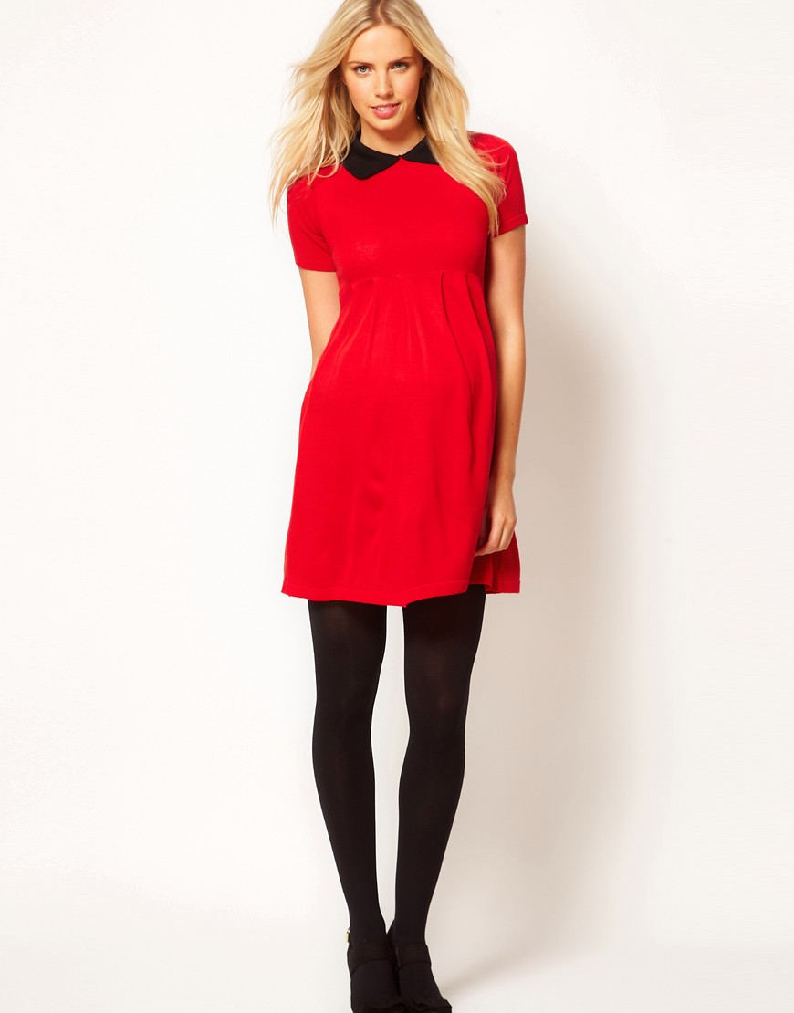 Image 4 ofASOS Maternity Knitted Dress With Peter Pan Collar