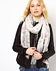 River Island Devore Skull &amp; Cross Scarf