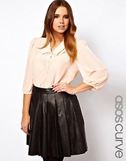 ASOS CURVE Blouse With Double Pleat Collar