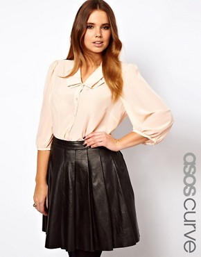 Image 1 ofASOS CURVE Blouse With Double Pleat Collar