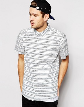 Quiksilver Shirt with Horizontal Print Modern Fit Short Sleeves