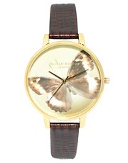 Olivia Burton Leather Strap Watch With Butterfly Face