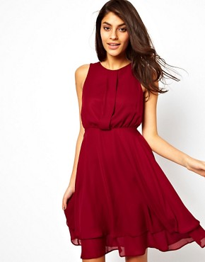 Image 1 ofASOS Skater Dress With Double Skirt