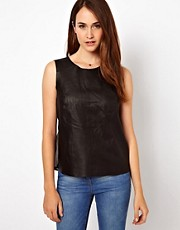 Warehouse Leather Cross Back Top