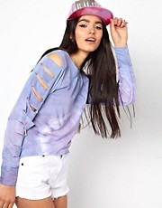 The Ragged Priest Shredded Crop Sweatshirt in Tie Dye