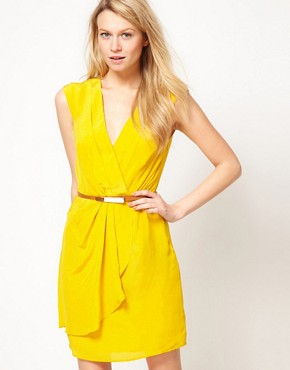 Image 1 ofOasis Silk V Neck Dress