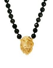 Bill Skinner Lion Necklace With Black Agate