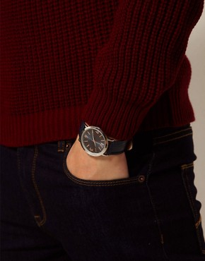 Image 3 ofASOS Classic Watch with Navy Strap