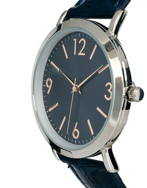 Image 4 ofASOS Classic Watch with Navy Strap