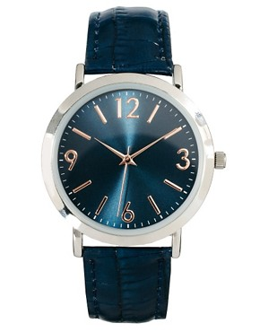 Image 1 ofASOS Classic Watch with Navy Strap