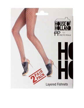 Image 3 ofHouse of Holland For Pretty Polly Layered Fishnet Tights
