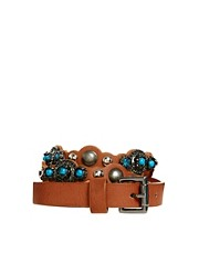 New Look Turquoise Stone Skinny Belt