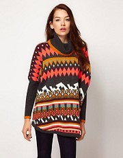 Vila Slouchy Intarsia Knit Roll Neck Jumper