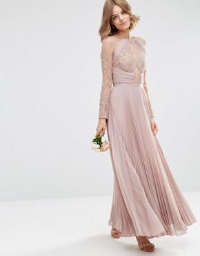 ASOS WEDDING Pretty Lace Eyelash Pleated Maxi Dress