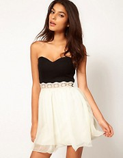 Paprika Bandeau Chiffon Prom Dress With Lace Trim