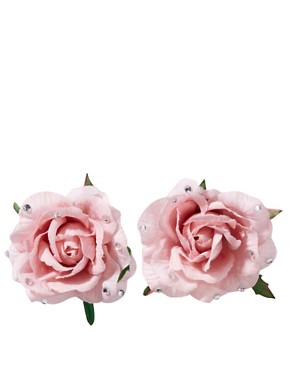 Orelia | Orelia Double Rose Hair Clip with Diamante Detail at ASOS :  pink valentine accesorry hair clip