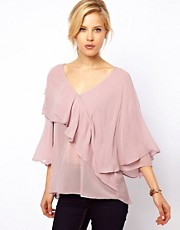 ASOS Top With Drop Neck And Layered Ruffle