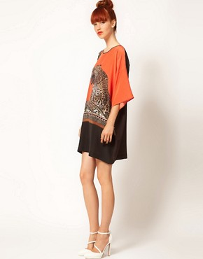 Image 4 ofEmma Cook Silk Kaftan with Leaping Leopard Print