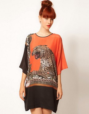 Image 1 ofEmma Cook Silk Kaftan with Leaping Leopard Print