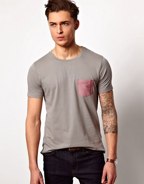 Image 1 ofASOS T-Shirt With Oxford Pocket
