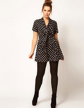 Image 4 ofASOS CURVE Exclusive Pussybow Playsuit In Spot