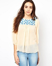 Warehouse Flower Embroidered Smock Top