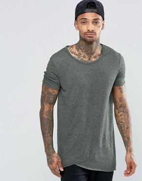 ASOS Super Longline T-Shirt In Waffle Fabric With Curved Hem