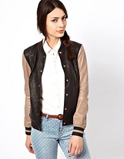 Paul by Paul Smith Varsity Jacket in Lambs Leather with Contrast Sleeve