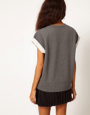 Image 2 ofASOS Sweatshirt with Crop Sleeves and Unicorn Square