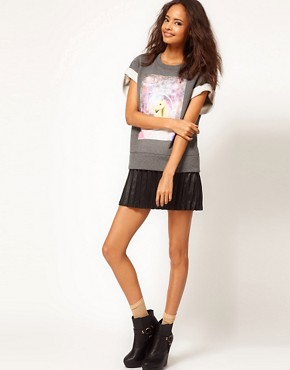 Image 4 ofASOS Sweatshirt with Crop Sleeves and Unicorn Square