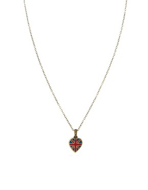 Image 1 ofCath Kidston Antique Brass Tiny Union Jack Heart Pendant Necklace