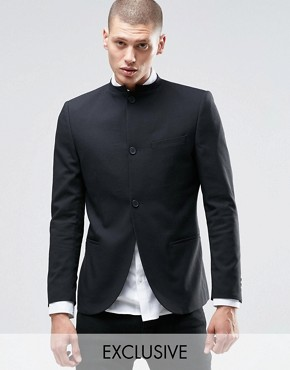 Only & Sons Skinny Mandarin Collar Blazer with Stretch