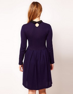 Image 2 ofASOS CURVE Exclusive Knitted Fit And Flare Dress With Leather Look Collar