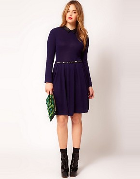 Image 4 ofASOS CURVE Exclusive Knitted Fit And Flare Dress With Leather Look Collar