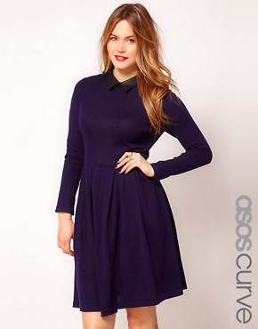 Image 1 ofASOS CURVE Exclusive Knitted Fit And Flare Dress With Leather Look Collar
