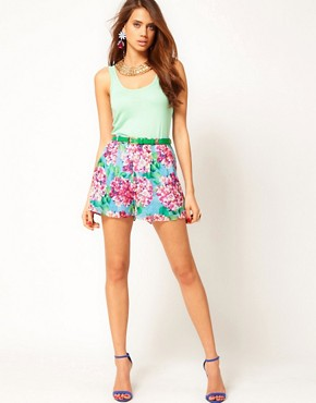 Image 1 ofRare Large Floral Belted Shorts
