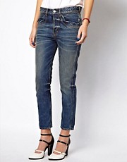 Mademoiselle Tara Boy Fit Jeans with Scalloped Pocket Detail