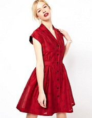 Boutique by Jaeger Jaquard Polka Dot Shirtwaist Dress