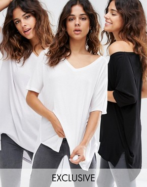 ASOS V Neck Oversized Slouchy Rib 3 Pack Save 15%