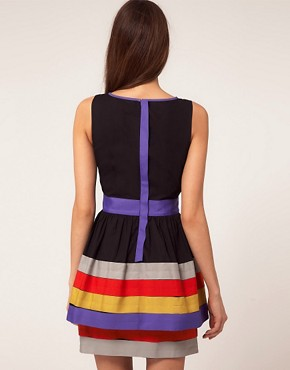 Image 2 ofASOS Peplum Dress With Ribbon Trim