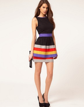 Image 4 ofASOS Peplum Dress With Ribbon Trim