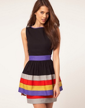 Image 1 ofASOS Peplum Dress With Ribbon Trim