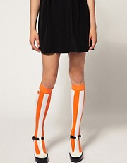 House Of Holland For Pretty Polly Exclusive to Asos Orange Stripe Socks