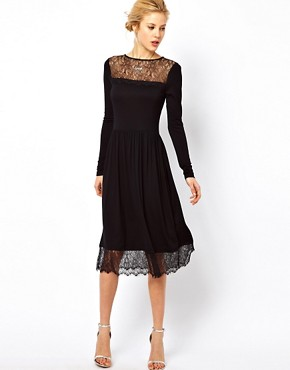 Image 1 ofASOS Skater Dress With Lace Trim Hem